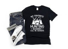 Cool Hunting Season Tshirt gift for the Best Grandpa on his Birthday, Fathers Day, or Christmas that loves to be outdoors and who loves to hunt buck and fowl. Funny Mens Deer Hunting Shirt. Fun and comfy Outdoorsman Sport Gift for Grandpa to wear all year long. Shop More Hunting Gifts: