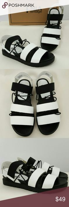 """NEW MIA Heritage Sea Sandals Genuine Leather 6.5 Brand new in box, never worn. MIA Heritage """"Sea"""" sandals. An updated fisherman sandal style, these slip on shoes feature white genuine leather straps and alternating with knotted black elastic cord. Cushy black rubber sole. US women's size 6.5.  KEYWORDS: Nasty Gal, ASOS, Urban Outfitters, Nordstrom, Festival, Beach, Party, Summer MIA Shoes Sandals"""