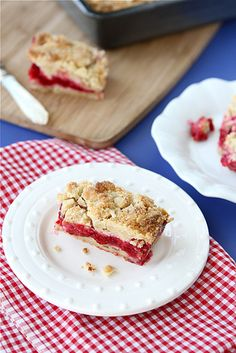 Raspberry Crumb Bar Recipe with Almond Streusel Topping...A classic summertime dessert. | cookincanuck.com