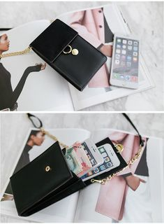bf71d844fe1c PU Leather Wallet Phone Case Card Solt Chain Strap Vertical Shoulder Bag  for iPhone Xiaomi Samsung