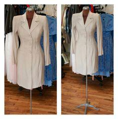 80s Silver Long Blazer Mini Coat Dress Evening Jacket