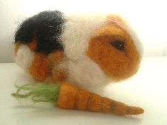 needle felted guinea pig & carrot