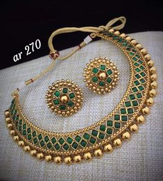 Indian Jewelry Bollywood Wedding Green Gold Plated Necklace Earrings Jewelry set in Jewelry & Watches, Fashion Jewelry, Jewelry Sets Jewelry Design Earrings, Necklace Designs, Gold Jewelry, Indian Jewelry Earrings, Silver Earrings, Designer Earrings, Jewelry Necklaces, Designer Jewellery, Pandora Jewelry