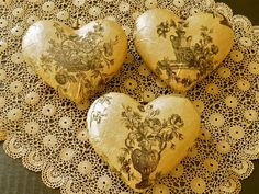 Decoupage Hearts - you could make these out of papier mache