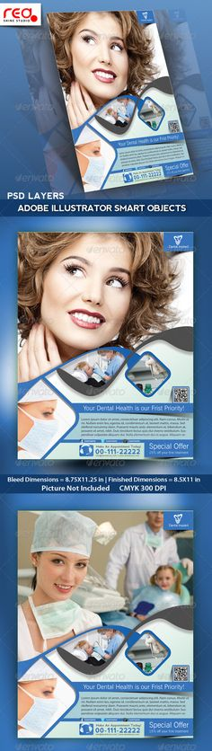 Dental Flyer, Poster & Magazine Template #GraphicRiver Dental Flyer template can be used for dental services corporate & personal use, modern companies, healthcare clinics, hospitals, dental clinics, dentists, corporate printing products etc. . SPECIFICATION Flyer / Poster Template is 8.5 by 11 in (8.75 in by 11.25 in with bleeds) and is ready for print, because it's in CMYK at 300 dpi. The psd file can be edited in Photoshop, and to be simple able to change the text. 1 Layered Photoshop…