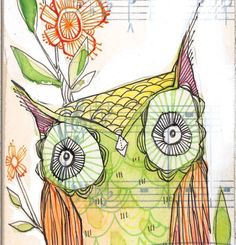 whimsical green owl painting - bird - ink - 5 x 10 inches, limited edition and archival print- Little olive by cori dantini.