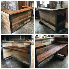 Indistrial Style Reclaimed Wood Reception Desk by MontanaWoodCo on Etsy www. Loft Interior, Hair Salon Interior, Salon Interior Design, Salon Design, Industrial Bedroom, Industrial Interiors, Industrial Furniture, Industrial Closet, Industrial Shelving
