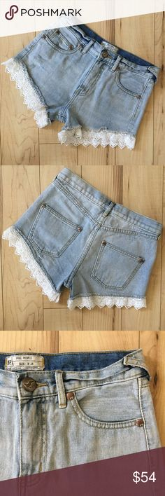 """FREE PEOPLE Light Blue Denim with Lace Hem Shorts! Boho style, lightly distressed, faded jean shorts with raw hem and lace, feature button zipper front closure and five pocket construction. Excellent condition like new. Measurements: Waist 14"""" flat. Hips 17"""" flat. Rise 9-1/2. Inseam 3-1/2"""". Free People Shorts Jean Shorts"""