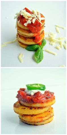 What the Heck Do I Do With Polenta?! - Sugar Dish Me // i bought a log of polenta the other day and i had no idea what i should do with it... these little fried polenta stacks look like an awesome choice!