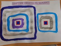 Després de treballar la línia i el cercle, avui us porto el treball que hem fet per treballar el quadrat.  Partint d'un gomet quadrat, la id...