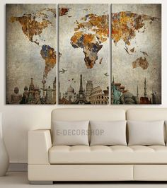 Large World Map Wall Art, Great Design Great Gift Idea, Multicolor ...