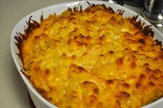 Easy and sooo good!! mac and cheese: Ingredients: 1 lb (1 box) al dente elbow noodles 1 lb cheddar cheese (or mix with mozzarella cheese too). 4 tablespoons butter. 1/2 cup milk (or heavy cream)  Whisk 1 egg with the milk, melted butter & salt n pepper, then mix in the noodles. Add your cheese. Put in your greased pan, bake at 350 for about 15 min. You can top off with bread crumbs for a crunch.