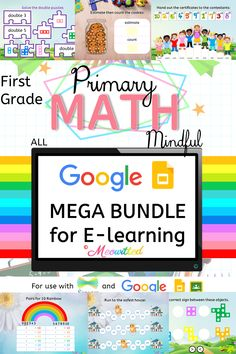 First grade MATH Google slides for e-learning! 500+ interactive slides! This is a growing bundle so it is currently at its cheapest! Primary Maths, First Grade Math, Learning, Google, Fourth Grade Math, Teaching, 1st Grade Math, Studying