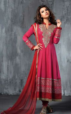 PINK GEORGETTE EMBROIDRED SALWAR KAMEEZ - SLF 9663