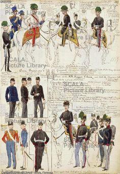 ******** Militaria, Italia XIX secolo. Uniformi varie del Ducato di Modena, 1858-1859. Tavola dal Codice Cenni.
