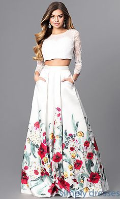 Formal Lace Bodice Two-Piece Dress with Pockets