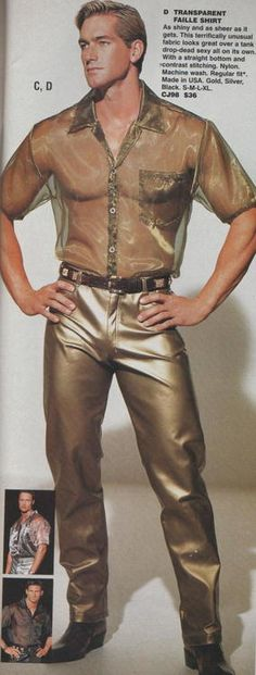 forget about the see-through shirt...those metallic trousers have creases in all the right places!