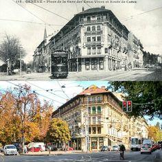 Avenue de la Gare des Eaux-Vives et route de Chêne  Vers 1910 -> 2016 Carte postale ancienne : communesgenevoises.ch  #eauxvives #genève #geneve #geneva #rephotography