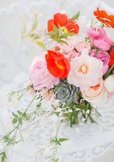 Colorful poppy bridal bouquet | photos by Apryl Ann | 100 Layer Cake