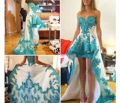 I love this tbh! High low lace prom dress.