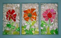 Mosaic Window Flower Trio, RECreationsART