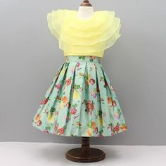 Pre Order: Yellow Crop Top With Light Green Floral Print Skirt Baby Girl Frocks, Frocks For Girls, Little Girl Dresses, Girls Frock Design, Baby Dress Design, Kids Dress Wear, Kids Gown, Baby Frocks Designs, Kids Frocks Design