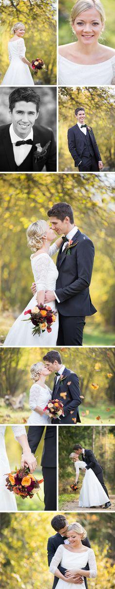 bröllop bröllopsfoto höstbröllop brud brudgum brölopsklänning brudbukett höst bröllopsfotograf