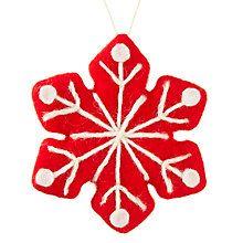 Buy John Lewis Chamonix Felt Snowflake Bauble, Red Online at johnlewis.com