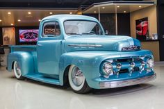 """1951 Ford Pickup VIN 28145 The """"Glass Pearl"""" was built by Jeff Jones at Jones Rod and Custom. The truck was first owned by a family member who got it as. Cool Trucks, Big Trucks, Chevy Trucks, Truck Drivers, Semi Trucks, Vintage Pickup Trucks, Classic Pickup Trucks, Vintage Cars, Classic Trucks For Sale"""