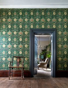 OFF RRP Buy Morris Archive IV The Collector Wallpaper. A wonderful collection of William Morris wallpapers influenced by Far East designs. Decor, Teal Wallpaper, Carpet Design, Montreal Wallpaper, William Morris Wallpaper, British Design, Morris Wallpapers, Interior And Exterior, Green Interiors