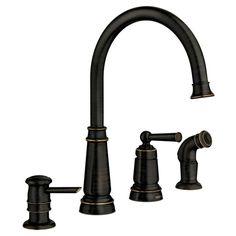 Moen Edison Mediterranean Bronze 1-Handle High-Arc Kitchen Faucet with Side Spray