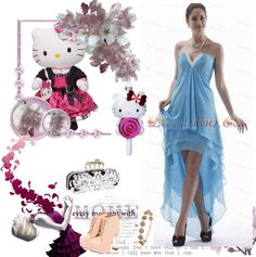 """""""Light Blue High-low Prom Dress With V-neck Chiffon For Custom Made"""" by prettydressesforyou ❤ liked on Polyvore"""