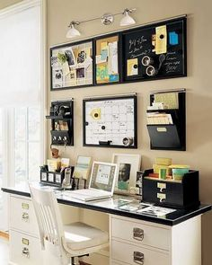Five Small Home Office Ideas Awesome organized desk/work area<br> Don't let lack of space keep you from having an efficient home office. These small home office ideas will help you get creative with the space you have. Home Design, Home Office Design, Home Office Decor, Office Furniture, Office Designs, Design Ideas, Office Table, Office Chairs, Furniture Ideas