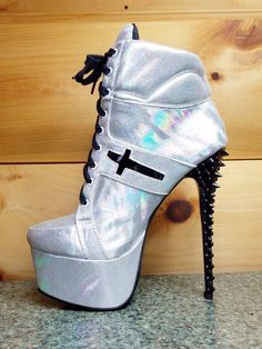 Anapaula Iridescent Silver Spiked Heel Platform Ankle Sneaker Boot