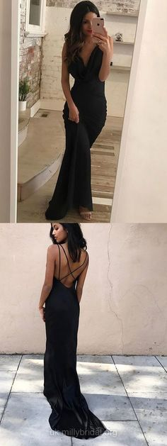 Black Prom Dresses, Long Prom Dresses, Modest Prom Dresses For Teens, Sheath/Column Prom Dresses Cowl Neck, Silk-like Satin Prom Dresses For Girls #blackdress #partydresses