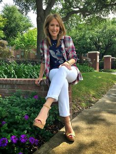 This is a perfect way to wear #whitejeans this #summer...Pair them with a graphic #Chaser tank under a soft #Rails plaid button down. Leaving the button down undone brings a new layering option! #fcstyle #frenchcuff #fashion #boutique #style