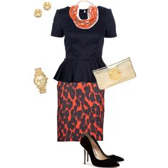 Orange leopard and Navy by lizzygirl07, via Polyvore