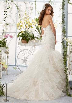 Wedding Gown 5409 Venice Lace Appliques Over Chantilly Lace onto the Flounced Organza  Mermaid Gown