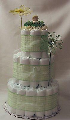 3 Tier Diaper Cake Sweet Pea Theme Pea in A Pod Baby Shower NoJo JoJo Cocalo | eBay