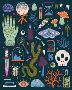 Wonderfully witchy artwork by artist Camille Chew Halloween Illustration, Art And Illustration, Illustrations, Posca Art, Creepy Cute, Grafik Design, Gouache, Overwatch, Art Inspo
