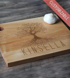 Customized Tree Design Cutting Board - 16 x 11 By Richwood Creations on Scoutmob Shoppe. Amazing customizable wedding gift on maple. $45