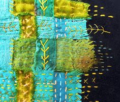 / embroidery stitches in favourite colours / by linda vincent / Textile Fiber Art, Textile Artists, Fabric Art, Fabric Crafts, Woven Fabric, Boro Stitching, Fibre And Fabric, Fabric Journals, Textiles