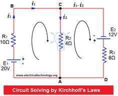 Circuit Analysis by Kirchhoff's Laws Solved Example on KCL and KVL (Kirchhoff's Laws) Engineering Science, Engineering Technology, Electronic Engineering, Electrical Engineering, Electronics Components, Electronics Gadgets, Electronics Projects, Simple Electronics, Arduino