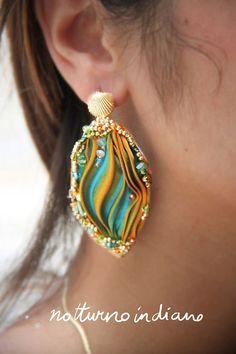 orecchini soutache perle turchesi e naturali fatti a mano