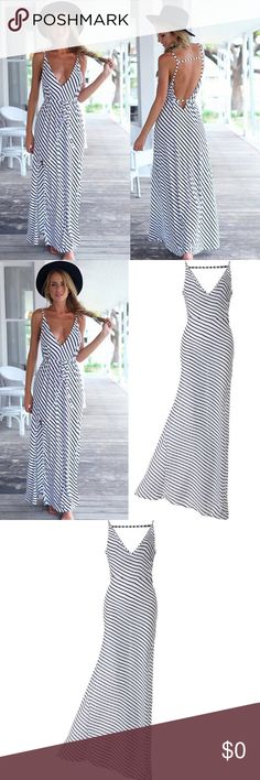 The Jennifer Dress  Brand new. Very cute Stripped dress with open back. It comes with a wrap around belt as seen in the photos. Perfect for summer. I liked this dress so much that I purchased one for myself. pilateschick boutique  Dresses Maxi