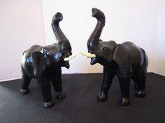 2 Black Leather Lucky Elephants  Africa Travel Asian Exotic Animal Tusk Figurine