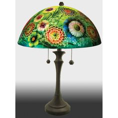 Full Blooms Reverse Hand Painted Glass Table Lamp by Jamie Barthel