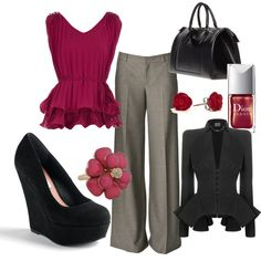 """Work Attire"" by sharayadawn on Polyvore --- can i change the blacks to browns? because that's more me. ^.^-b"