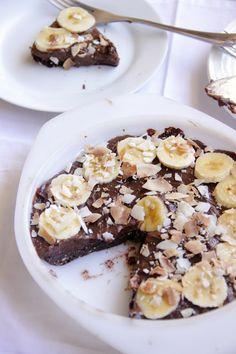 My Happy Place: {raw} banana & toasted coconut brownie pie
