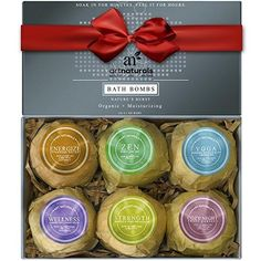 ArtNaturals Bath Bombs Gift Set - Ultra Lush Essential Oil - Handmade Spa Bomb Fizzies - Organic and Natural Ingredients Shea Butter for Moisturizing Dry Skin Relaxation in a Box 4.1 oz. 6 Count